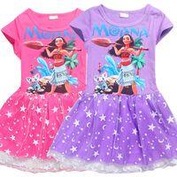 Wholesale Cartoon Beach Shorts - baby girls Moana dress New summer cartoon Children Moana printing princess dresses Kids Clothing DHL shipping