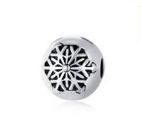 Wholesale Snowflakes Beads - Fits Pandora Bracelets 30Pcs Snowflake Silver Safety Anti-Drop-Clip Buckle Charm Bead Stopper Beads For Wholesale Diy European Sterling Neck