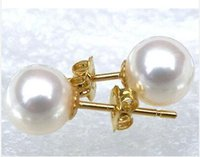Wholesale Earrings Pearl 14 - new round AAA + 8-9mm South Seas white pearl earrings with 14 k