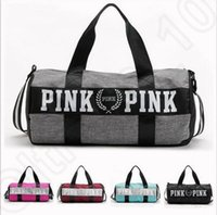 Wholesale Cheap Beach Bags Totes - VS Pink Shoulder Bag Women Yoga Handbags Large Capacity Travel Duffle Striped Cheap Waterproof Beach Bag Shoulder Bag