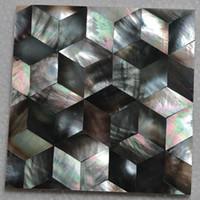 cuisine de dosseret de mère perle achat en gros de-Modèle de cube couleur naturelle mère de nacre coquille mosaïque carreaux de salle de bains salle de bains carrelage dosseret de cuisine carrelage # MS023