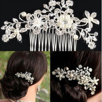 Wholesale Rhinestone Headpiece Comb - Brand new Girls Hair Combs With Crystal Flower Party Wedding Hair Accessories Rhinestone Wedding Bridal Headband Party Headpiece
