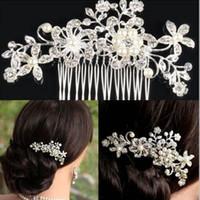 Wholesale Wholesale Hair Combs Rhinestones - Brand new Girls Hair Combs With Crystal Flower Party Wedding Hair Accessories Rhinestone Wedding Bridal Headband Party Headpiece