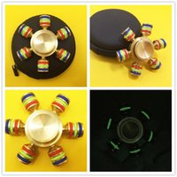 Wholesale Gold Cooper - 2017 Hot selling Glow Brass Hexagonal Fidget Spinner Hexa-spinner EDS Anti-stress Rotation Metal Spinners Cooper Decompression Novelty Toy