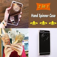 Funny 2 en 1 DIY Fidget Spinner Miroir Back Cover Hand Spinner Réduction de l'anxiété Stress Metal Rudder Phone Cases Skin pour iPhone 8 7 Plus 6 6S