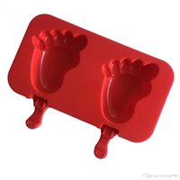 Wholesale tub baby online - Ice Cream Mold Red Silica Gel Frozen Popsicle Maker Baby Foot Bear Paws Torch Snowman Four Style Select Homemade Tool xw R