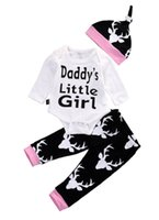 Wholesale Daddy Baby Clothes - Autumn baby romper suit daddy little girl clothing set newborn infant rompers+hat+pants 3pcs outfit toddlers boutique clothes bodusuit plays