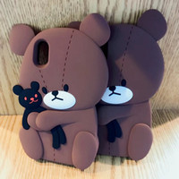 3D Teddy Bear caso de silicone macio para Iphone X 8 Plus 7 Plus 6 6S Moda bonito Lovely Brown Cartoon Rubber Black Back Cover pele 2017 Hot New