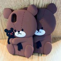 iphone brauner bär großhandel-3D Teddybär Weiche Silikonhülle Für Iphone XS X 8 Plus 7 Plus 6 6S Mode Niedlichen Schönen Braun Cartoon Gummi Schwarz Rückseite Haut Heißer Neu