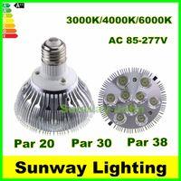 Wholesale 277v Led Spot Lights - Dimmable Led bulbs Par 20 30 38 E27 LED Spot Lamps 9W 10W 14W 18W 24W 30W downlight Lighting 3000k 4000k 6000k AC85-277V