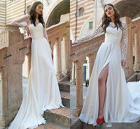 Wholesale Cheap Elegant Long Sleeve Tops - Long Sleeve Lace Top A Line Beach Wedding Dresses 2017 New Elegant Sheer Neck High Legs Slits Chiffon Bridal Gowns Cheap Wedding Guest Wear