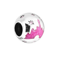 Wholesale Pandora Castle - 925 sterling silver jewelry Disny Castle With Pink Color Beads fit pandora bracelet & necklace for woman jewelry making charms