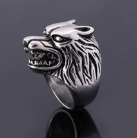 Fashion Wolf Head Rings pour hommes Homme Rock Punk Finger Rings Cool Biker Animal Cheap Jewelry Wholesale