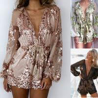 Wholesale sequin jumpsuits for women - Lace Jumpsuit New Women Summer Vintage Heart Embroidery Paillette Short V neck casual playsuits for womens jumpsuits Sequins Party Jumpsuit