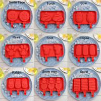 Wholesale Cute Ice Cube - 2-3 Cavities Cute Cartoon DIY Silicone Ice Cream Mold Popsicle Molds Ice Tray Cube Tools