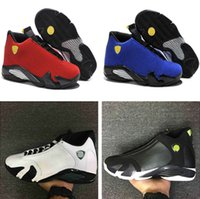 Wholesale size 14 flat shoes women - Wholesale High Quality Retro 14 Men Basketball Shoes 14s Fusion Varsity Red Suede Thunder Black XIV Playoffs Sneakers size 40-47