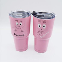 Wholesale Steel Stocks - 2 Designs Newest 30oz Pink Barbapapa Cups 304 Stainless Steel Tumbler Mugs Vacuum Insulation Cup Beer Bar Travel Mugs With Lid CCA7272 25pcs