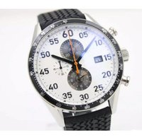 Wholesale white rubber swiss watch - 2017 new Luxury brand Tag Quartz rubber Watch Men Caliber 17 White Big Dial Stainless Band Chronograph Precision swiss Watch Montre Homme
