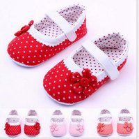 Wholesale Red Crib Shoes - Baby Infant Kids Girl Soft Sole Crib Toddler Newborn Shoes 0-12 months new free shipping