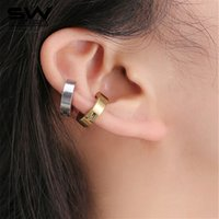 Wholesale Titanium Gold Plated Earrings - STARWORLD Fashion Magnetic titanium steel ear clip magnetic clip-on earrings high quality ear cuff earrings for women men R166