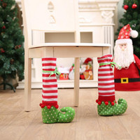 Wholesale Table Leg Foot - Foot Shoes Chair Table Leg Covers Christmas Striped Table Decorations Wine Bottle Bag Candy Gift Party Decoration OOA3284