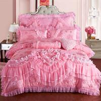 набор постельных принадлежностей из шелка оптовых-Розовый кружева Принцесса свадьба роскошные постельные принадлежности Король Королева размер Шелковый Енот пятно кровать пододеяльник покрывало наволочка