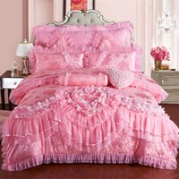 ropa de cama de encaje reina princesa rosa al por mayor-Rosa princesa de encaje de la boda de lujo juego de cama de matrimonio tamaño king reina de seda Coon Stain juego de cama funda nórdica colcha funda de almohada