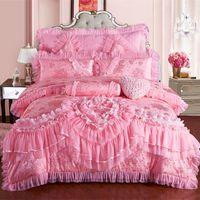 seidenspitze kissenbezug großhandel-Rosa Spitze Prinzessin Hochzeit Luxus Bettwäsche Set König Queen Size Seide Waschbär Fleck Bett Set Bettbezug Tagesdecke Kissenbezug
