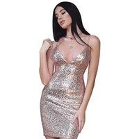 robes de mode europe xl achat en gros de-Europe et les États-Unis femmes mini-robe sans manches sexy été v-cou condolé robe à paillettes robe discothèque