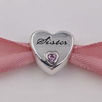 kız kardeşler için bilezikler toptan satış-Aile 925 Ayar Gümüş Boncuk Sister'S Aşk Charm Avrupa Pandora Stil Takı Bilezikler Kolye 791946PCZ Uyar