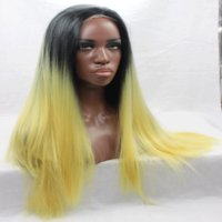 Wholesale Yellow Lace Wig - Synthetic hair lace front wig straight hair wigs with baby hair for pretty women black to yellow