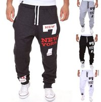 Wholesale Tight Cargo Pants Men - Wholesale-Mens Joggers Pants 2016 Brand Male Cargo Pants Slim Letters Printed Tights Trousers Compression Men Jogger