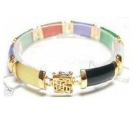 Wholesale Jade Bracelet Carving - free shipping >Beautiful polychromatic jade carved link bracelet