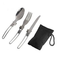 Wholesale Knife Spoon Fork Storage - 3 in 1 Portable Stainless Steel Camping Knife Fork Spoon Folding Outdoor Tablewares Set with Storage Bag Silver Dinnerware Sets