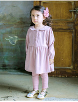 Wholesale Childern Clothes - Little childern dresses embroidery cats 2017 new autumn girls cotton lapel long sleeve pompon pleated dress kids buttons front clothes C0813