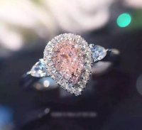 Wholesale Silver Rings Pink Diamonds - Wholesale Luxury Jewelry 925 Sterling Silver Pink Sapphire AAA CZ Diamond Gemstones Pear Cut Wedding Women Engagement Band Heart Ring Gift