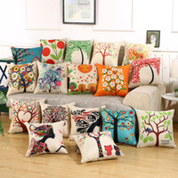 Wholesale Charm Square Patterns - Charming Pattern Cushion Covers Cotton Linen Fashion Cushion Covers Decorative Chair Waist Throw Pillow case Home Decor IC592