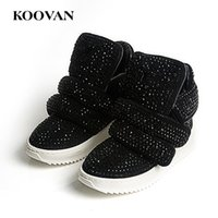 Wholesale Children Cowboy Boots - Koovan Children Boots 2017 Children's Shoes Leather Kids Boots Sports Shoes Rhinestone Girls Boys Sneakers Sports Warm Boot