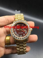 Wholesale Diamond Watch Band Men - NEW Luxury 41mm Big diamond Mechanical man watch (red, green dial) All diamond band Automatic Stainless steel men's watches