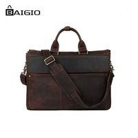 saco de couro italiano dos homens venda por atacado-Atacado-Baigio Men Laptop Bag 16
