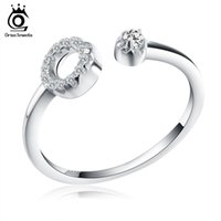 Wholesale Ring Zero - Orsa Jewels New Arrived Genuine 925 Silver Paved Zero Open Cuff Adjustable Finger Rings For Women SR06