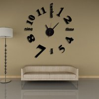 Wholesale new d clock wall clocks reloj de pared watch large decorative diy stickers modern design Living Room Quartz