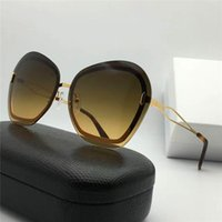 Wholesale Decorative Framed Butterflies - New fashion designer sunglasses ultra-light irregular frameless frame top quality high-definition anti-UV 400 lens decorative eyewear 129