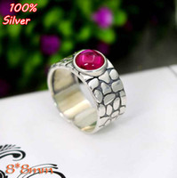 100% 925 Sterling-silver-jewelry Ajuste ajustable del anillo en blanco con 8MM Ajuste Round Stone Antique Silver