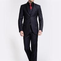 Wholesale Three Piece Dress For Males - Male 3 Pieces Suit 2017 Formal Slim Black Suits Stripe Groom Wedding Dress Suit For Men Blazer With Vest Pants Tie