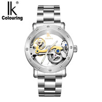 Wholesale Mechanical Hollow Sided - IK colouring automatic mechanical watch double-sided hollow steel tide male table 50 meters waterproof men's watches