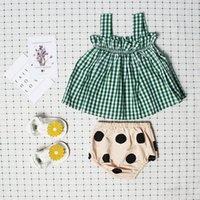 Wholesale 2t Ruffle Underwear - INS Baby Outfits New Summer Girls Clothing Sets Plaid Ruffle Suspender Tops + Polka Dot Underwear 2pcs Set Toddler Clothes C1121