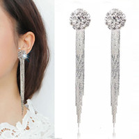 XS Copper Quality AAA Zircon Tassel Earrings No Ear Pierced Earrings Spiral Ear Clip Acessórios Atacado B1221