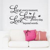 Wholesale Live Moment Decal - PVC Home Decor Wall Stickers Meco Vinyl Decal Live Every Moment, Laugh Every Day, Love Beyond Words Wall Quote