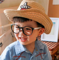 Wholesale Boys Summer Tops - Solid Color Boys Girls Straw Fedora Hat Children Top Hat Topee Kids Summer Straw Sunhat Jazz Caps